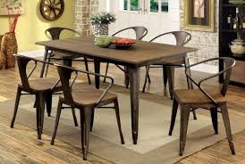 industrial dining room tables furniture of america industrial ryder 7 piece metal dining set