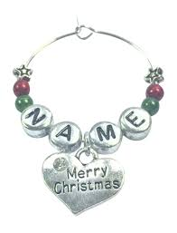personalised merry christmas wine glass charm with clear rhinestone