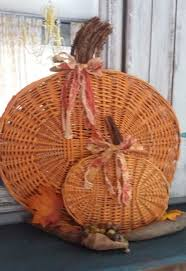 turn your old basket lids in to pumpkins for fall hometalk