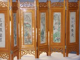 carved wood room divider enchanting mini tabletop oriental two sides hand painted vintage