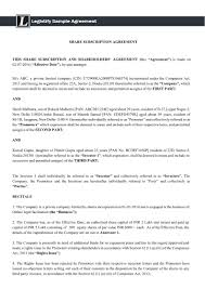 Sample Investment Agreement Create Share Subscription And Shareholders U0027 Agreement Online