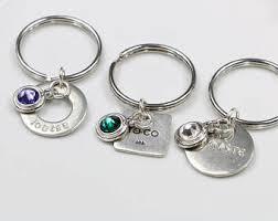 personalized birthstone keychains rhinestone keychain etsy