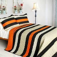 modern striped black u0026 orange teen boy bedding full queen quilt