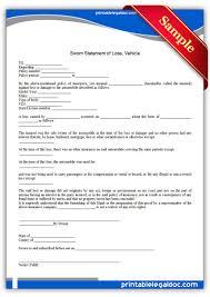 printable sworn statement of loss vehicle template printable