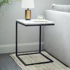 West Elm Tripod Table Box Frame C Base Side Table Marble Antique Bronze West Elm