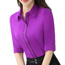 purple blouses lenshin turn collar wear half sleeve purple