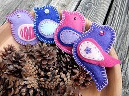 felt bird christmas ornaments hand made lilac blue pink
