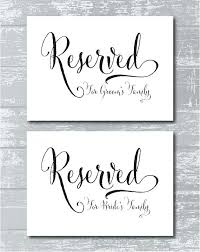 reserved signs for wedding tables reserved seating signage reserved table sign reserved seating