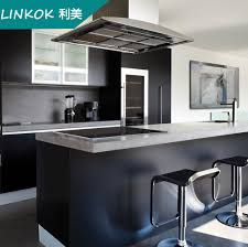 china modular high quality black melamine kitchen cabinets with