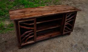 hand made rustic walnut wood tv media entertainment center