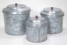 amazon com antique style galvanized tin canister set by park hill