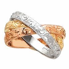 wedding ring depot 14k tri color gold paisley floral band 3mm 3003521 shop at