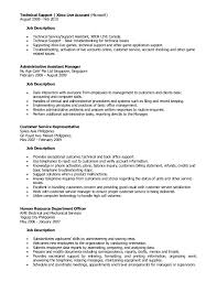 Accounting Assistant Job Description Resume by Outstanding Technical Support Job Description Resume 11 On Sample