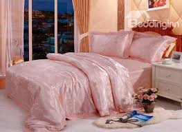 Jacquard Bedding Sets Pink 4 Jacquard And Lace Satin Bedding Sets