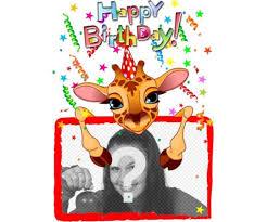 customizable greeting card with a giraffe birthday photofunny