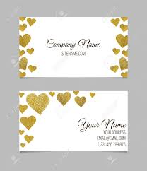 business card template visiting card with golden foil heart
