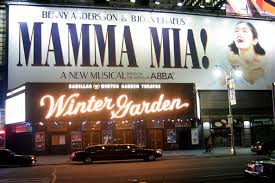 winter garden theater marquee showing the abba hit musical mamma