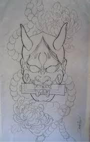 traditional japanese mask sleeve tattoos