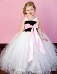 costume wedding dresses 2018 pink sash white tulle bridesmaid flower baby wedding