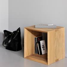 Oak Side Table Oak Cube Side Tables Closed