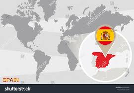 Spain Map World by World Map Magnified Spain Spain Flag Stock Illustration 337488986