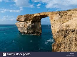 Azure Window by Azure Window Rock Arch Gozo Island Malta Europe Stock Photo