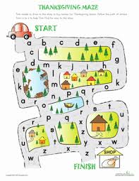 alphabet maze to thanksgiving worksheet education com
