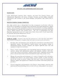 cover letter financial manager job description church financial
