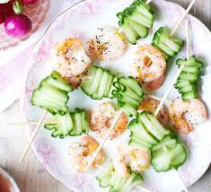 canapes with prawns chilled cucumber prawn skewers recipe food
