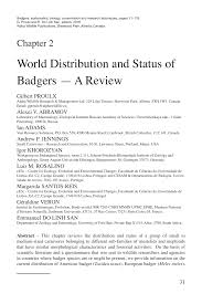 Sho Nr Kur world distribution and status of badgers pdf available
