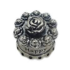 Pandora Sterling Silver Happy Birthday Rose Cake Charm W Box