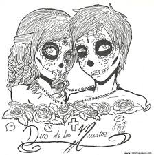 print skull sugar couples love coloring pages sugar skull