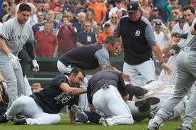 fists fly benches clear 3 times during tigers yankees game in
