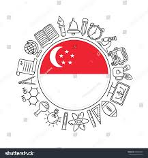 Singapore Flag Icon Vector Singapore Background Black Linear Stock Vector