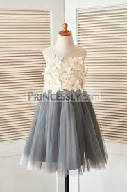 sheer illusion neck gray tulle wedding flower dress with