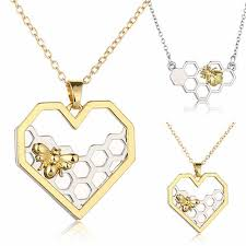 fashion necklace aliexpress images Men 39 s bee chain pendant necklace shellhard classic heart hollow jpg