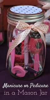 manicure or pedicure in a mason jar gift idea baby shower game