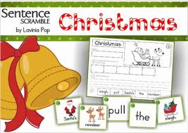 christmas sentence scramble with cut and paste worksheets by