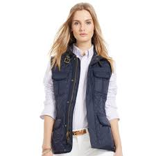 north face lixus jacket polo ralph lauren quilted full zip vest in blue lyst