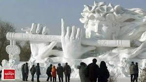 harbin snow and ice festival 2017 krishna in ice statue displayed in harbin international ice u0026 snow