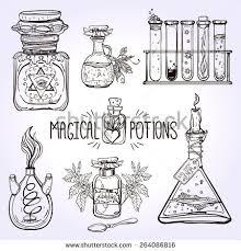 set beautiful ornate potion bottles chemistry stock vector