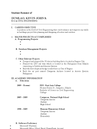 career objective in resume for civil engineer student resume homework schools