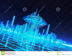 backdrop city a neon grid effect backdrop with city royalty free stock images