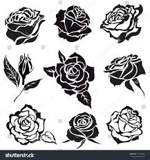 Black Rose Flower Set Vector Black Rose Flower Design Stock Vector 391101604