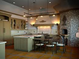 tuscan kitchen design ideas with track lighting over island built