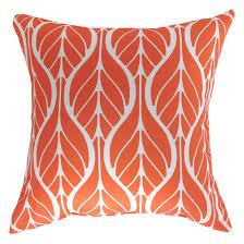 coussins orange coussin décoratif d extérieur motif de feuilles orange