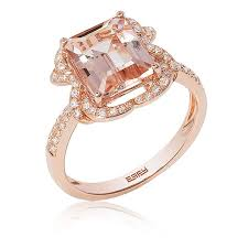 morganite ring gold effy emerald cut blush morganite diamond ring in 14k gold