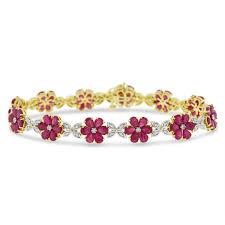 diamond flower bracelet images 13 08 ct natural ruby diamond flower leaf bracelet in solid 18k jpg