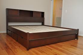 Brown Wood Bed Frame Brown Wooden Bed With Storage On The Front Side Plus With