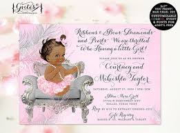 diamonds and pearls baby shower american invitation ribbons bows diamonds pearls baby